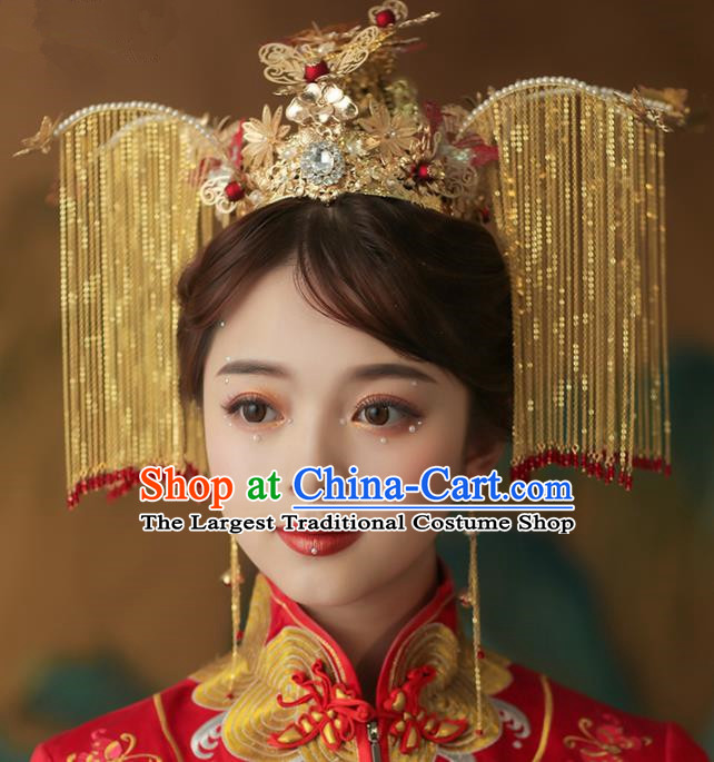Chinese Ancient Palace Bride Golden Phoenix Coronet Tassel Hairpins Traditional Wedding Hair Accessories for Women