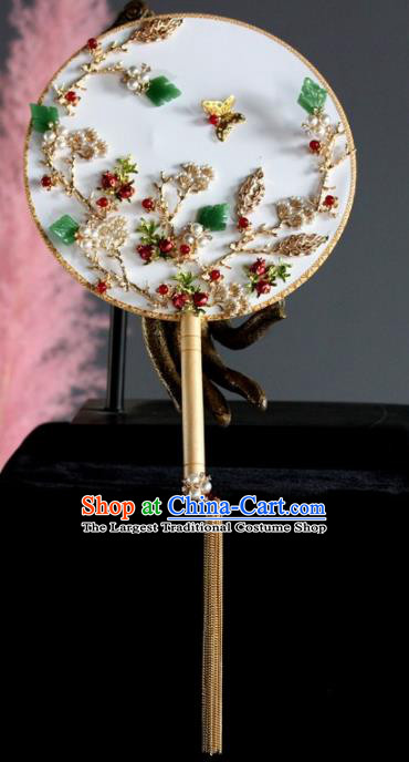 Chinese Handmade Classical Jade Leaf Palace Fans Wedding Bride Accessories Round Fan for Women