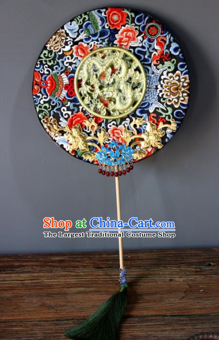Chinese Handmade Classical Carving Dragons Palace Fans Wedding Bride Accessories Round Fan for Women