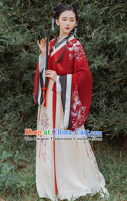 Chinese Traditional Jin Dynasty Nobility Lady Historical Costume Ancient Princess Wedding Hanfu Dress for Women