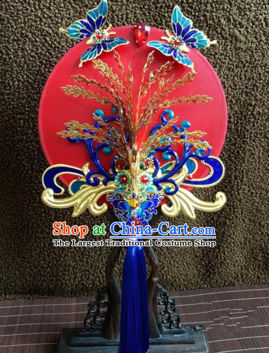 Chinese Handmade Bride Classical Cloisonne Red Palace Fans Wedding Accessories Round Fan for Women
