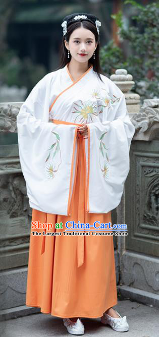 Traditional Ancient Chinese Jin Dynasty Princess Embroidered Replica Costume for Women
