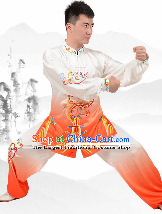 Chinese Traditional Tang Suit Embroidered Dragon Orange Costume Martial Arts Tai Ji Competition Clothing for Men