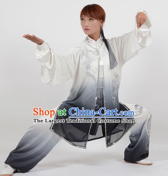 Chinese Traditional Kung Fu Embroidered Phoenix Black Costume Martial Arts Tai Ji Competition Clothing for Women