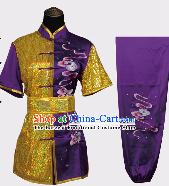 Chinese Traditional Kung Fu Embroidered Clouds Purple Costume Martial Arts Tai Ji Competition Clothing for Men