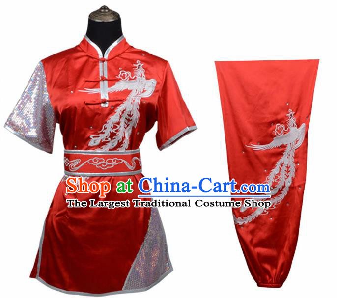 Chinese Traditional Kung Fu Printing Phoenix Wine Red Costume Martial Arts Competition Clothing for Women