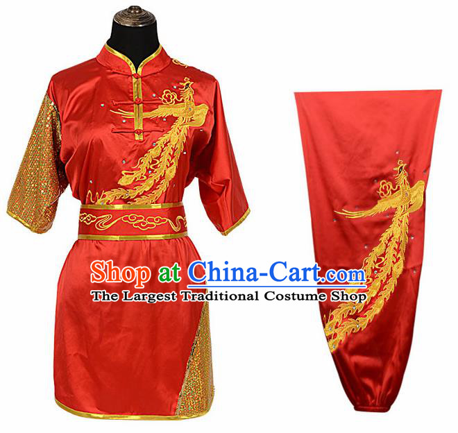 Chinese Traditional Kung Fu Printing Phoenix Red Costume Martial Arts Competition Clothing for Women