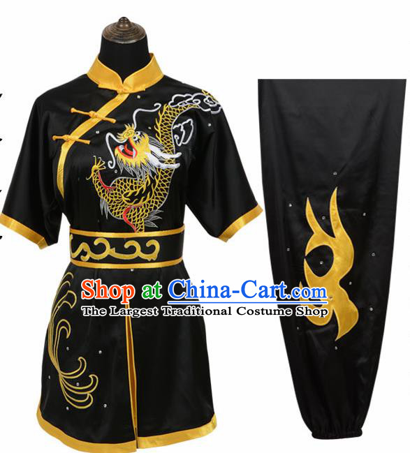 Chinese Traditional Kung Fu Embroidered Dragon Black Costume Martial Arts Tai Ji Competition Clothing for Men