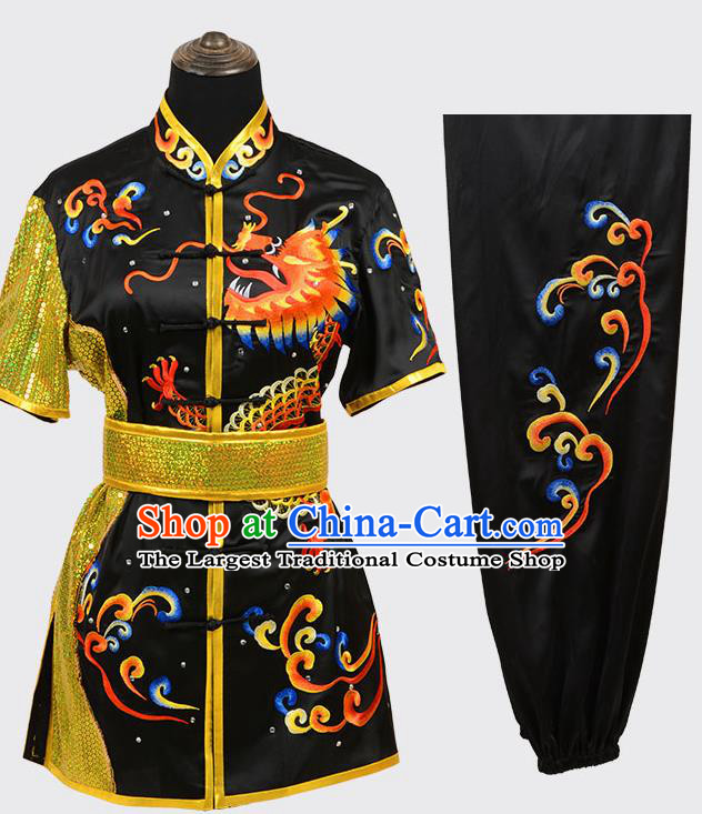 Chinese Traditional Kung Fu Embroidered Black Costume Martial Arts Tai Ji Competition Clothing for Men