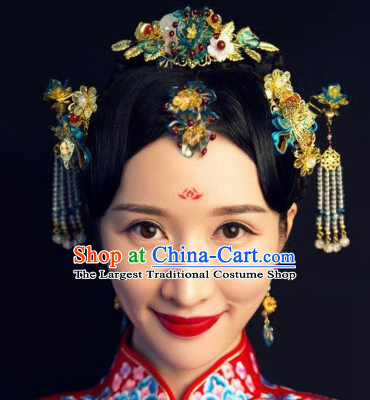 Handmade Chinese Ancient Hairpins Cloisonne Hair Comb Traditional Hair Accessories Headdress for Women