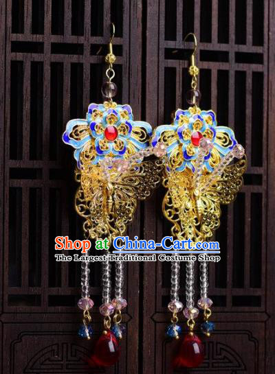 Chinese Handmade Hanfu Blueing Lotus Earrings Traditional Ancient Palace Ear Accessories for Women