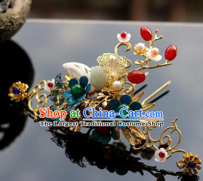 Handmade Chinese Ancient Princess Blueing Hairpins Traditional Hair Accessories Headdress for Women