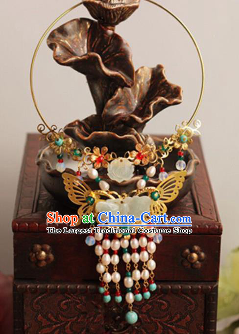 Top Grade Chinese Handmade Hanfu Jade Butterfly Necklace Traditional Bride Jewelry Accessories for Women