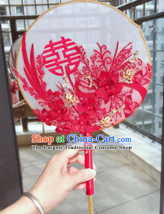 Chinese Handmade Bride Red Lace Palace Fans Wedding Accessories Classical Round Fan for Women