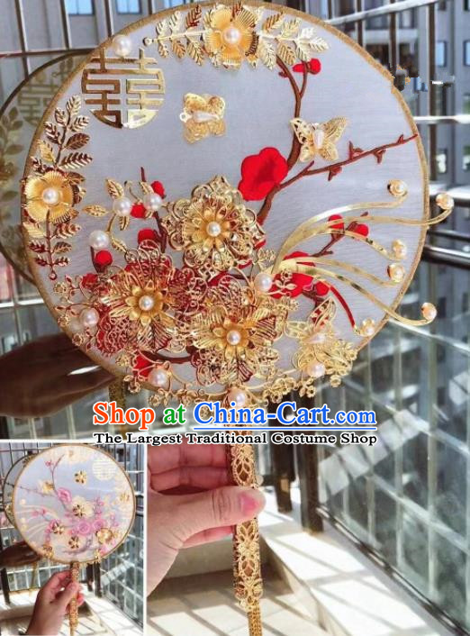 Chinese Handmade Bride Silk Palace Fans Wedding Accessories Classical Round Fan for Women