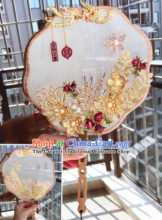 Chinese Handmade Bride Phoenix Palace Fans Wedding Accessories Classical Round Fan for Women