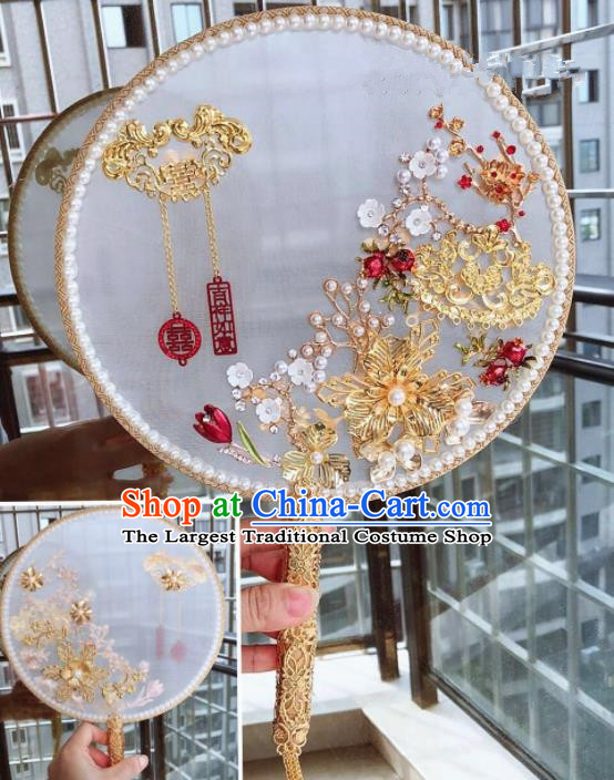 Chinese Handmade Bride Pearls Tassel Palace Fans Wedding Accessories Classical Round Fan for Women