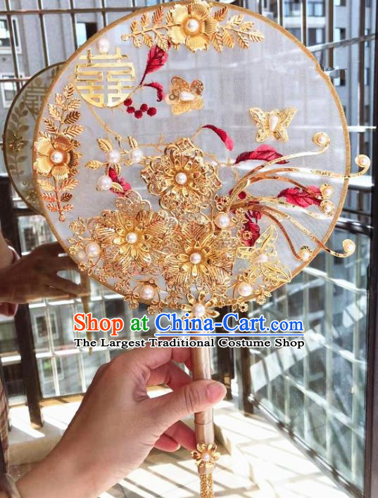 Chinese Handmade Bride Palace Fans Wedding Accessories Classical Round Fan for Women