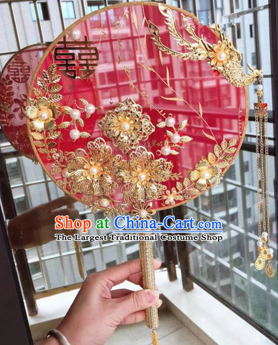 Chinese Handmade Bride Palace Fans Wedding Accessories Classical Red Silk Round Fan for Women