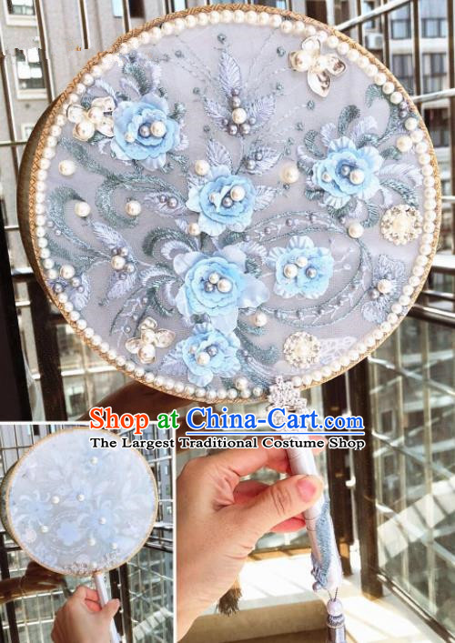 Chinese Handmade Bride Blue Flowers Palace Fans Wedding Accessories Classical Round Fan for Women