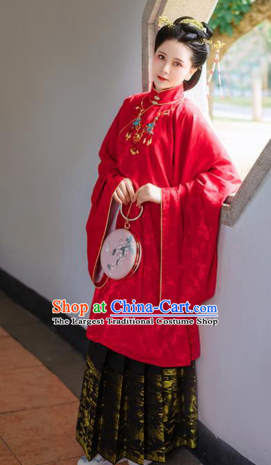 Chinese Traditional Ming Dynasty Wedding Historical Costume Ancient Bride Embroidered Hanfu Dress for Women