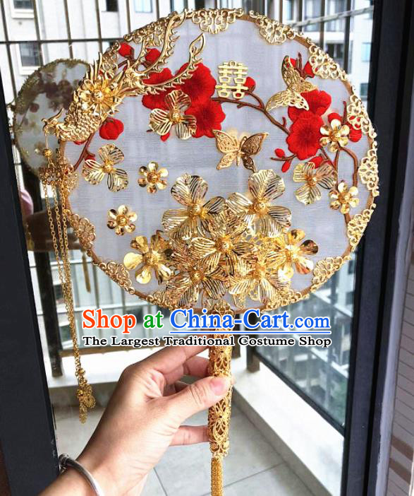 Chinese Handmade Bride Palace Fans Wedding Accessories Classical Golden Phoenix Round Fan for Women