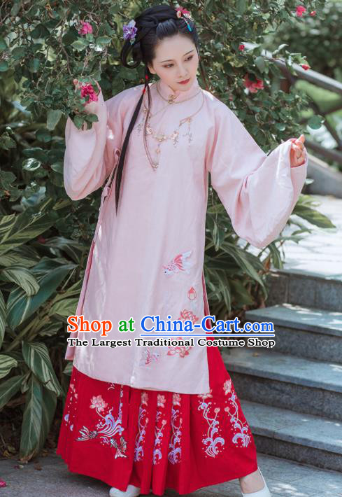 Chinese Traditional Ancient Embroidered Hanfu Dress Ming Dynasty Princess Historical Costume for Women