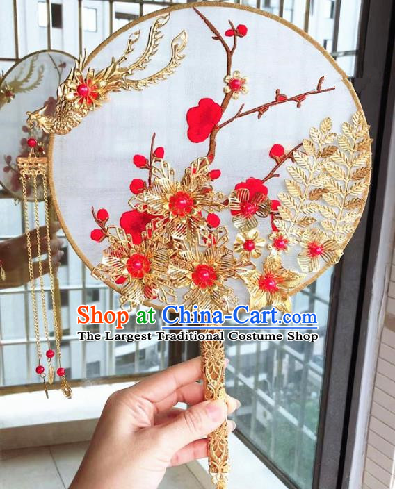 Chinese Handmade Bride Embroidered Palace Fans Wedding Accessories Classical Phoenix Round Fan for Women