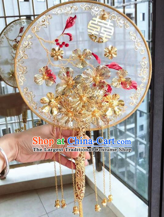 Chinese Handmade Bride Palace Fans Wedding Accessories Classical Golden Tassel Round Fan for Women