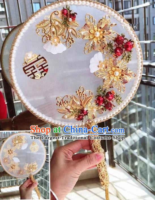 Chinese Handmade Bride Palace Fans Wedding Accessories Classical Shell Round Fan for Women