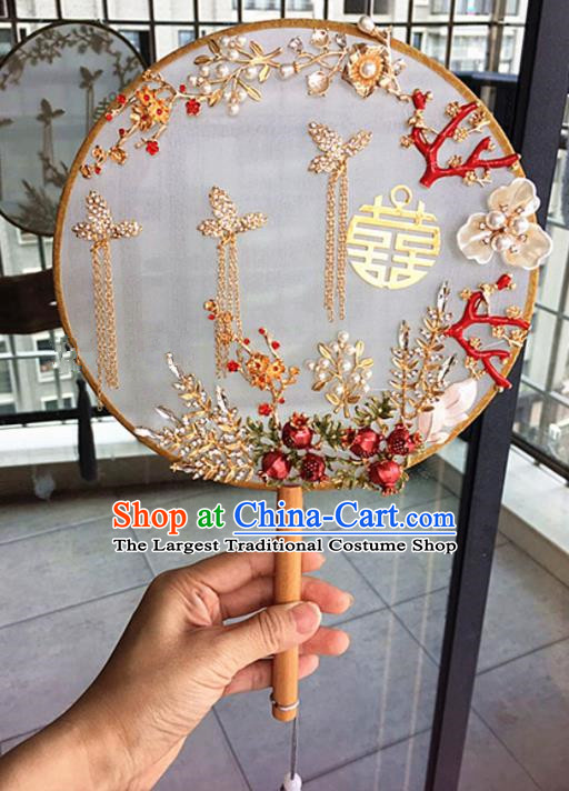 Chinese Handmade Bride Red Pomegranate Palace Fans Wedding Accessories Classical Round Fan for Women