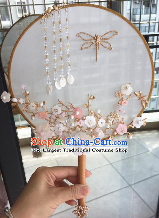 Chinese Handmade Bride Plum Blossom Palace Fans Wedding Accessories Classical Round Fan for Women