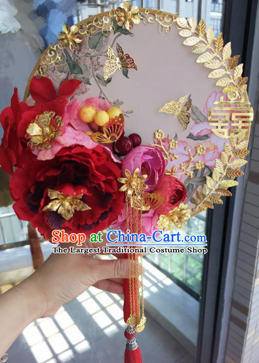 Chinese Handmade Bride Red Peony Palace Fans Wedding Accessories Classical Round Fan for Women