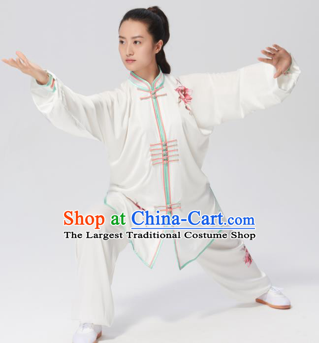 Chinese Traditional Tai Chi Group Printing Peony Costume Martial Arts Kung Fu Competition Clothing for Women