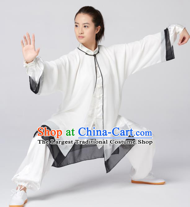 Chinese Traditional Martial Arts Kung Fu Competition Costume Tai Chi Group White Silk Clothing for Women