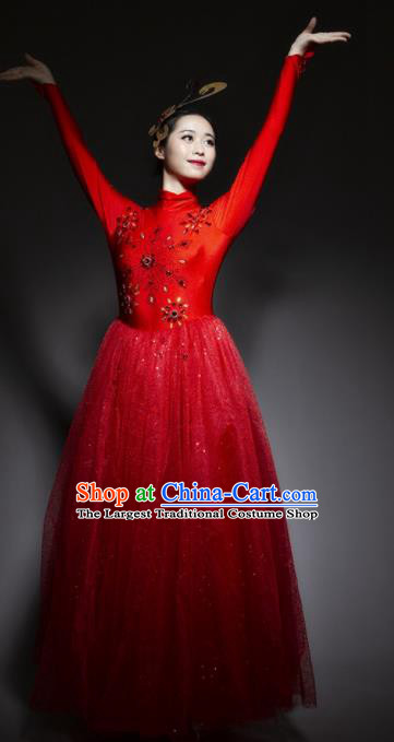 Chinese Traditional National Dance Red Veil Dress Modern Dance Stage Performance Costume for Women
