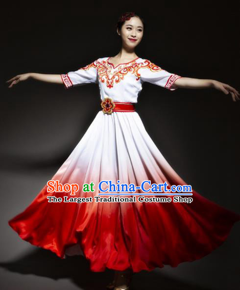 Chinese Traditional Chorus Red Dress Modern Dance Stage Performance Costume for Women