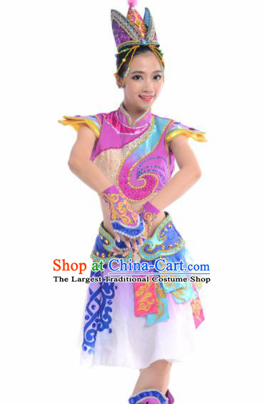 Chinese Traditional Mongol Nationality Costume Mongolian Ethnic Folk Dance Purple Clothing for Women