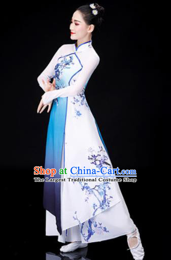 Chinese Traditional Classical Dance Costume Umbrella Dance Printing Dress for Women