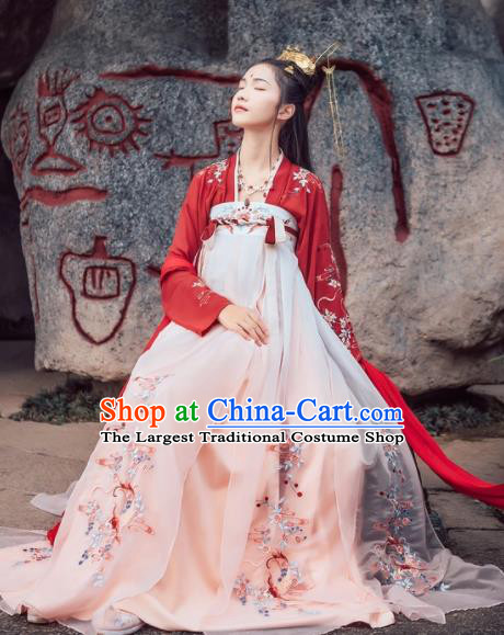 Chinese Traditional Ancient Tang Dynasty Palace Princess Embroidered Historical Costume for Women