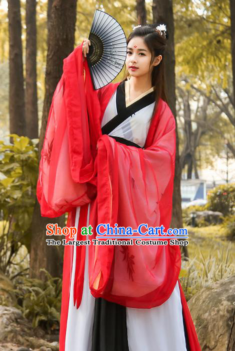 Chinese Traditional Jin Dynasty Embroidered Historical Costume Ancient Swordswoman Red Hanfu Dress for Women