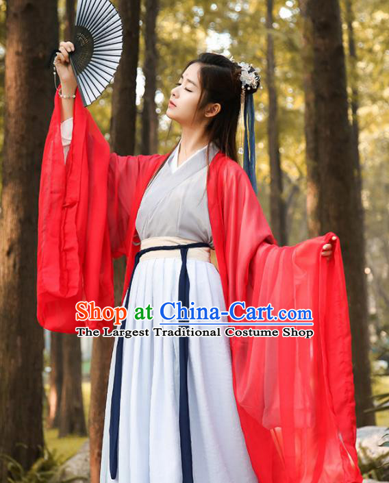 Chinese Traditional Jin Dynasty Female Knight Historical Costume Ancient Swordswoman Red Hanfu Dress for Women