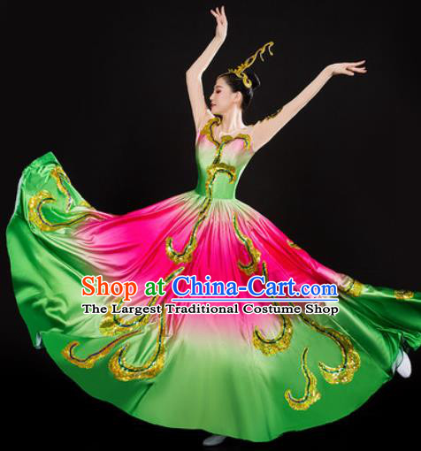 Chinese Traditional Spring Festival Gala Opening Dance Dress Peony Dance Stage Performance Costume for Women