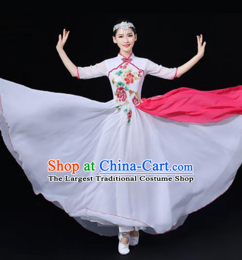 Chinese Traditional Classical Dance Embroidered Peony White Dress Umbrella Dance Stage Performance Costume for Women