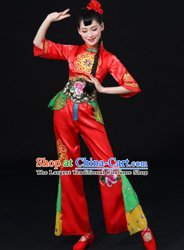 Chinese Traditional Folk Dance Red Clothing Group Yangko Dance Stage Performance Costume for Women