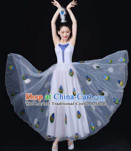 Traditional Chinese Dai Nationality Dance White Dress Folk Dance Peacock Dance Ethnic Costume for Women