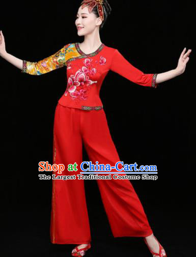 Chinese Traditional Folk Dance Clothing Group Yangko Dance Stage Performance Red Costume for Women