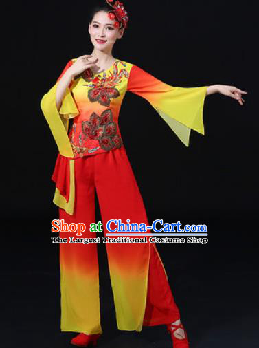 Chinese Traditional Fan Dance Clothing Group Yangko Dance Folk Dance Stage Performance Costume for Women