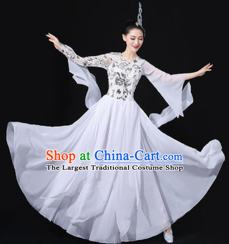 Chinese Traditional Chorus Modern Dance White Dress Opening Dance Stage Performance Costume for Women