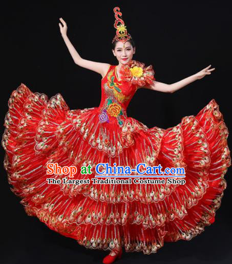 Chinese Traditional Modern Dance Red Dress Spring Festival Gala Opening Dance Stage Performance Costume for Women